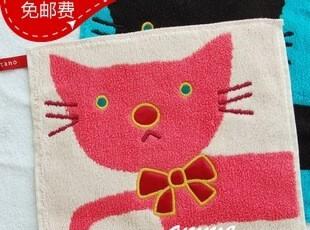 美術館纯棉可爱小猫挂绳小方巾手帕擦手巾20x20,毛巾,