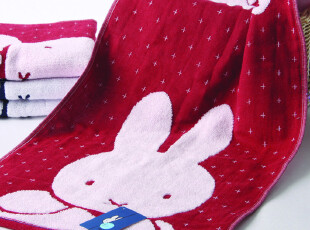 金号 米菲兔 纯棉毛巾面巾双层无捻卡通可爱情侣款式红蓝,毛巾,