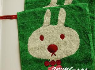 外贸出口纯棉挂绳可爱小兔水玉小方巾手帕擦手巾20x20,毛巾,
