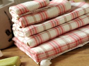 JF2965 E**LE红色格子纯棉毛巾,毛巾,