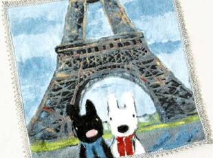 出口日本原单 卡斯伯与丽莎 巴黎铁塔涂鸦蕾丝边小方毛巾 手帕,毛巾,