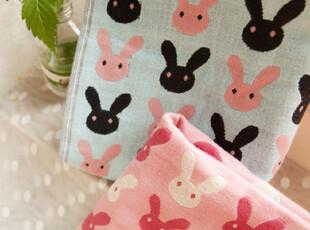 【满6件包邮】可爱调皮小兔子 棉纱 方巾 面巾 双色选,毛巾,