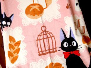 日本订单 魔女宅急便黑猫JIJI 纯棉割绒浴巾沙滩巾儿童夏日午睡毯,毛巾,