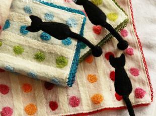 外贸日本タオル美術館纯棉无捻纱猫尾小方巾便携手帕擦手巾,毛巾,