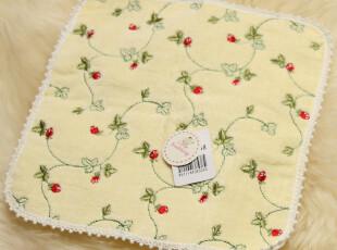 出口日本原单 满工绣遍地野草莓 细花边纯棉小方巾手帕 结婚回礼,毛巾,