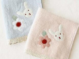 日本原单 俣野温子 兔头小花贴布 可爱儿童女士方毛巾 手帕,毛巾,