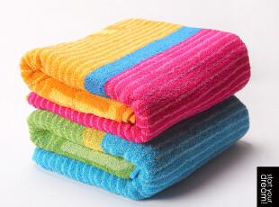 觉家纺 纯棉浴巾 厚 创意情侣 时尚撞色 第二件半价 特价 60x120,毛巾,