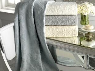 【纽约下城公园】优美卷草提花纹纯棉浴巾组合 三件四色 灰白现货,毛巾,