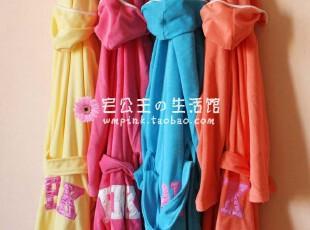 两件包邮!新款 PINK 糖果色 毛巾料浴袍睡袍,毛巾,