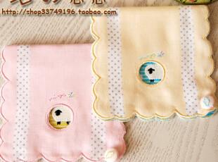 日本制 乖巧绵羊刺绣 多层纯棉纱布便携口袋收纳手帕 卫生棉包,毛巾,