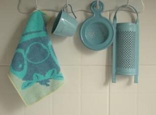 日单尾货 蓝色调可爱小怪纯棉毛圈儿童小方巾 擦手巾,毛巾,