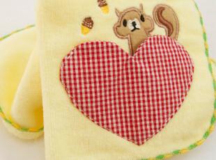 出口日本原单 纯棉 小方巾 手帕 毛巾手帕 口水巾 立体口袋 松鼠,毛巾,