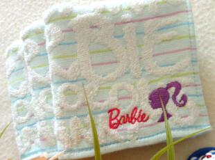 外贸出口日本原单!Barbie 芭比 字母提花刺绣  方巾 手帕,毛巾,