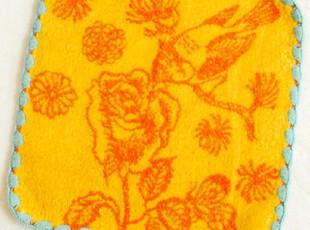 日本原单 CHAT-CHIEN 花鸟提花 纯棉全棉女士手帕/小方巾/H,毛巾,