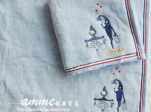 外贸出口法国品牌瑟琳纯棉心雨小方巾手帕,毛巾,