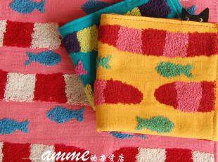外贸日本タオル美術館纯棉探头钓鱼猫小方巾手帕,毛巾,