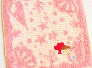日本原单 崖の上のポニョ金鱼姬 纯棉全棉手帕小方巾粉特价K,毛巾,