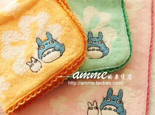 amme小店外贸出口纯棉无捻纱蓝色龙猫小方巾手帕,毛巾,