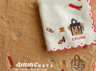 法国品牌瑟琳浅色豹纹笑脸包小方巾手帕,毛巾,