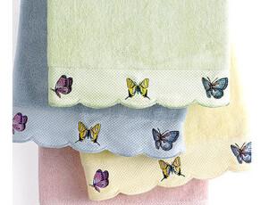 美国进口-精梳棉蝴蝶绣花浴巾 68*127,毛巾,