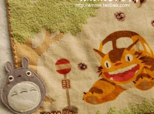 外贸出口纯棉宫崎骏超级贴布大龙猫猫车小方巾手帕,毛巾,