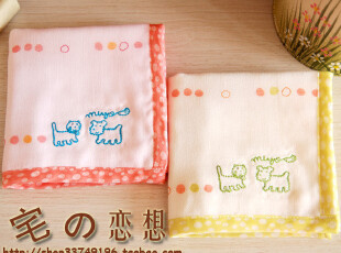 日式良品优质家居zakka 童年与猫咪 纯棉五层纱布小方巾宝宝手帕,毛巾,