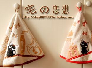日单良品zakka Grand stil 猫咪刺绣 纯棉无捻纱圆形挂巾 擦手巾,毛巾,