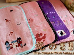日本订单良品zakka 好品质 精美刺绣 纯棉割绒小方巾收纳便携手帕,毛巾,