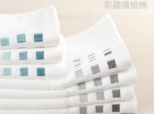 出口纯棉毛巾面巾 蜂巢强吸水 全棉刺绣加大加厚洁面毛巾 2条装,毛巾,