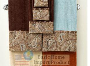 美国进口浴室用品系列-美国海岛棉加柔浴巾 面巾 方巾三件套,毛巾,