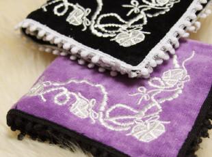 最新出口日本 订单 精致小女人刺绣小方巾 纯绵 毛巾手帕 环保,毛巾,