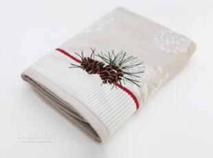 松果刺绣埃及棉纯棉浴巾 割绒吸水好厚实精致 成人浴巾儿童浴巾,毛巾,