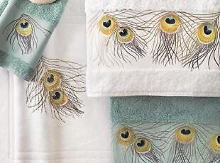 简单的奢华 土耳其600克上等棉线美国刺绣孔雀羽毛浴巾套件,毛巾,