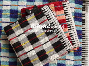 外贸出口日本タオル美術館纯棉方格探头猫小方毛巾手帕,毛巾,