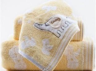 奥斯特 可爱象儿童家庭毛巾浴巾童巾三件套礼盒装 批发价纯棉,毛巾,