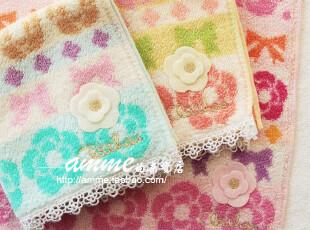 外贸出口纯棉立体山茶花小方巾手帕,毛巾,