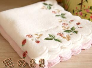 出口日本原单 Wedgwood威基伍德 精美野草莓刺绣 纯棉割绒大方巾,毛巾,