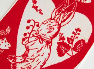 法国品牌原单 红兔子桃心 提花割绒无捻纱 纯棉全棉毛巾/面巾,毛巾,