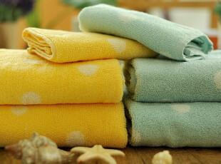 JF2853 P*RI 尾货 波点双股纱 色织高毛圈 毛巾浴巾三件套,毛巾,