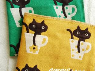 外贸出口日本タオル美術館三层纱布猫咪杯子大方巾手帕,毛巾,