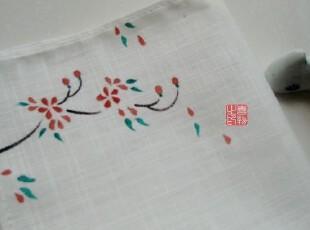 【囍物】中国风擦手巾 手绘布艺棉麻手帕/手绢  樱,毛巾,