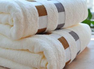 孚日洁玉专柜正品  纯棉方格缎档 浴巾仅售28元,毛巾,