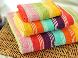 JF2852 P*RI 尾货 七彩大条纹 色织 毛巾浴巾 三件套,毛巾,
