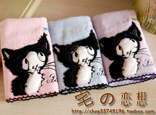 日本优质家居zakka 精美立体猫头刺绣 纯棉割绒手帕小方巾擦汗巾,毛巾,