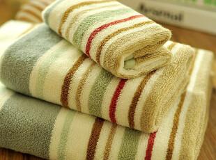JF2857 P*RI 尾货 五色细条纹 色织高毛圈 毛巾浴巾 三件套,毛巾,