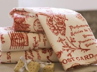 时尚家居浴巾手巾 松枝浆果明信片图案葡萄牙纯棉浴巾套件650克,毛巾,
