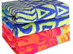 外贸余单 纯棉提花割绒 沙滩巾 毛巾被 大浴巾(158*180CM),毛巾,