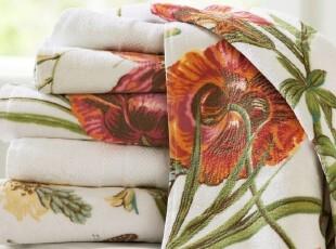 时尚家居浴巾套件 花田纯棉有机棉欧式600克浴巾毛巾方巾三件套,毛巾,