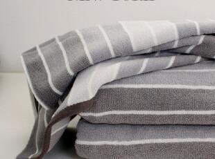 外贸原单 正品全棉灰色条纹浴巾 加大加厚吸水好,毛巾,