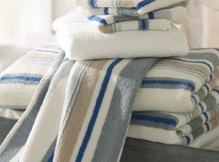 时尚家居浴巾套件 加勒比纯棉有机棉欧式600克浴巾毛巾方巾三件套,毛巾,